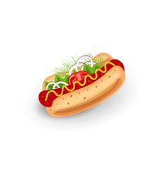 hot dog isolated icon on vector image