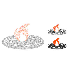 hot pizza mesh carcass model and triangle vector image