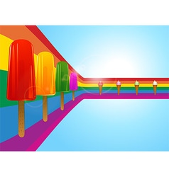 Ice lollies and ice creams on curved rainbow vector