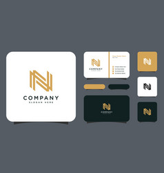 Initial letter n logo design with business card vector
