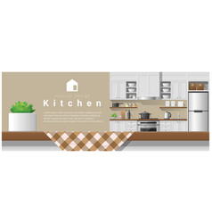 Interior design with table top and modern kitchen vector