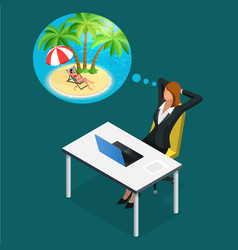 isometric office worker or business woman in the vector image