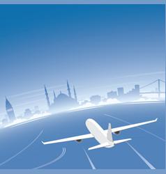istanbul skyline flight destination vector image vector image