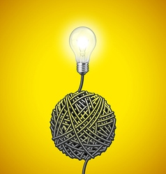 Light bulb and tangled wire on yellow background vector