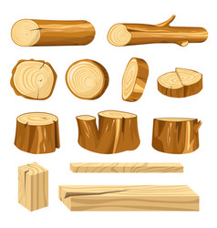 Long logs polished planks and short stumps set vector