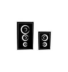 loudspeakers icon audio music sign black on white vector image