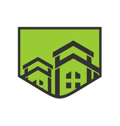 luxury residence green badge logo vector image
