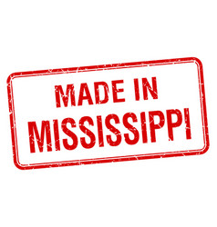 Made in mississippi red square isolated stamp vector