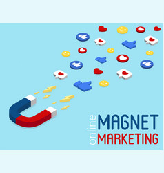 Magnet marketing banner in isometric style vector