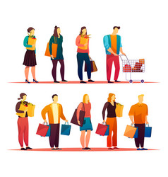 Mall with people standing in line or queue vector