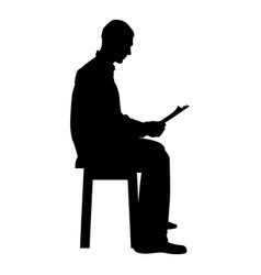 man sitting reading silhouette concept learing vector image