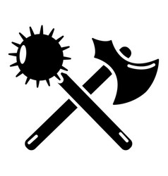 Medieval axe and mace icon simple style vector