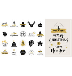 merry christmas hand drawn and icons vector image vector image