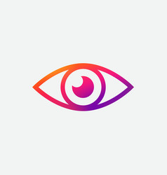 Modern eye icon on gray background gradient vector