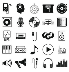 music set icons in silhouette style vector image