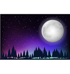 Nature scene with fullmoon and forest vector