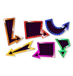 neon glowing arrow pointer set vector image