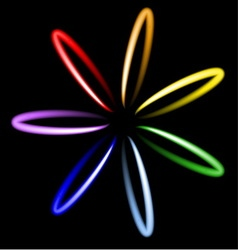 Neon rainbow flower vector