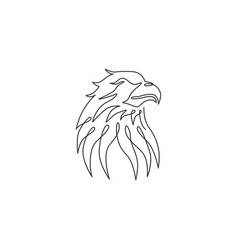 one continuous line drawing strong eagle head vector image