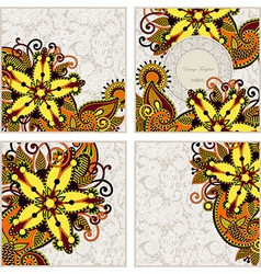 ornate set of four flower background design vector image
