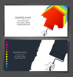 Paint roller in hand business card vector