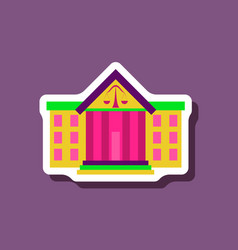 Paper sticker on stylish background courthouse vector