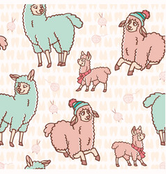 Pastel colors cartoon alpaca llama family seamless vector