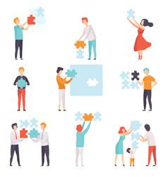People connecting puzzle elements set men women vector