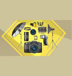 Photo studio banner horizontal cartoon style vector