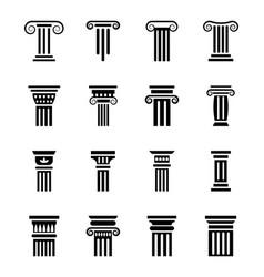 Pillar sketch icons set vector