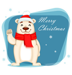 polar bear in christmas hat and scarf vector image