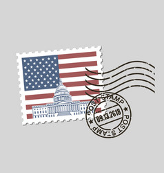 postage stamp with american symbols vector image