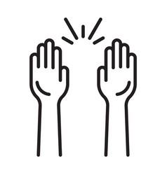Raising hands audience celebrate line art icon vector