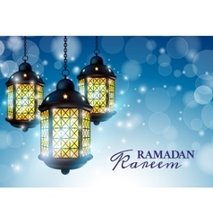Ramadan Lantern or Fanous with Ramadan Kareem vector image