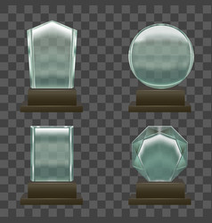 realistic glass or crystal prizes set vector image