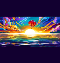 red balloon flying at sunset over sea vector image