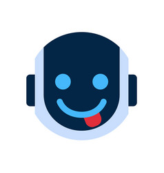 Robot face icon smiling face showing tongue vector