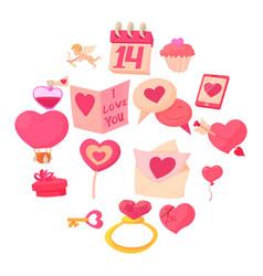 saint valentine icons set cartoon style vector image