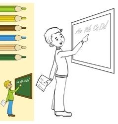 Schoolboy at blackboard outlined vector image