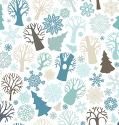 Seamless winter forest pattern vector