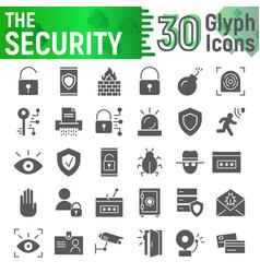 Security glyph icon set protection symbols vector