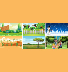 set different scenes nature vector image