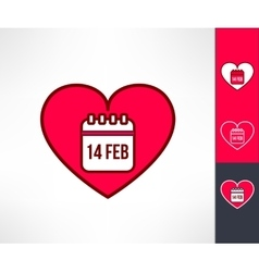 Set of valentines hearts with calendar vector