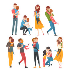 set people family characters are hugging vector image