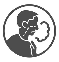 Shortness breath solid icon difficulty vector