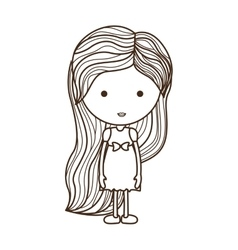 Silhouette girl with dress and striped hair vector