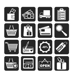 Silhouette Shopping and website icons vector