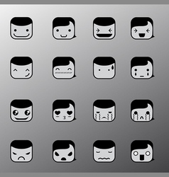 Simple emotion face symbols vector image