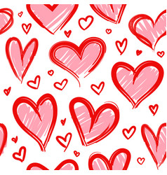 sketch heart seamless pattern hand drawn red vector image