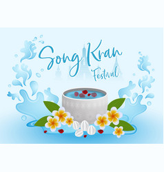 songkran festival concept infographic with water vector image